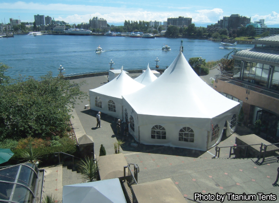 White Marguee Tents with Window Walls in Custom configuration (2 x Hex34 MQ20) & Warner shelter Systems Limited. Branded Logo tents for your events ...