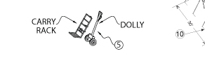 Dolly with Carrying Rack, Peak Pole Tent Accessory