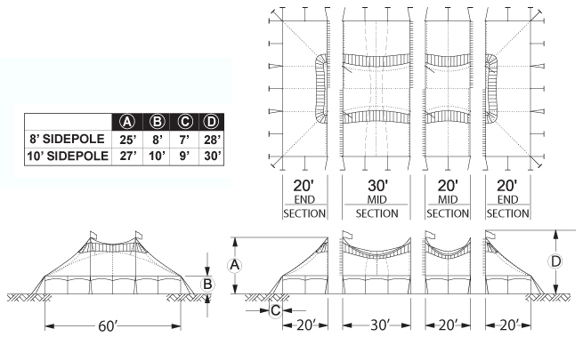 Diagram of a Peak Pole Tent, PPT60X, top and side view