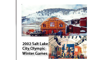 2002 Salt Lake City Olympic Winter Games Clearspan Moduler Tent 4AW, outside view and interior view, with faux printed front of the tent