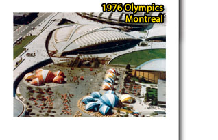 1976 Olympics in Montreal, beautiful clusters of red and blue Dome Stagecover Tents