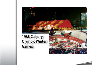 1988 Calgary Winter Olympicss Clearspan Modular Structure, Night Scene with tent glowing from interior light and interior scene