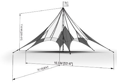 Layout drawing including dimension of an MQ20H Peak Marquee