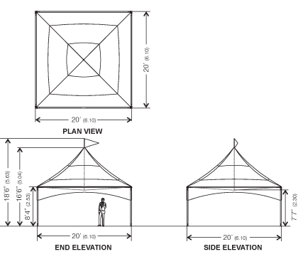 Plan view, elevation and side elevation of Peak Marquee MQ20H