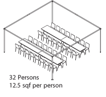 Peak Marquee MQ20H Seating Suggestion, 32 Persons, 12.5sqf per person, rectangular tables