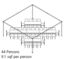 Peak Marquee MQ20H Seating Suggestion, 40 Persons, 10 sqf per persons, rectangular tables