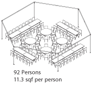 Peak Marquee MQ34Hex Seating Suggestion, 92 Persons, 11.3sqf per person, round and rectangular tables