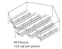 Peak Marquee MQ34Hex Seating Suggestion, 98 Persons, 10.6sqf per person, rectangular tables