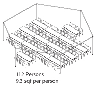 Peak Marquee MQ34Hex Seating Suggestion, 112 Persons, 9.3sqf per person, rectangular tables